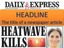 HEADLINE: The title of a newspaper article