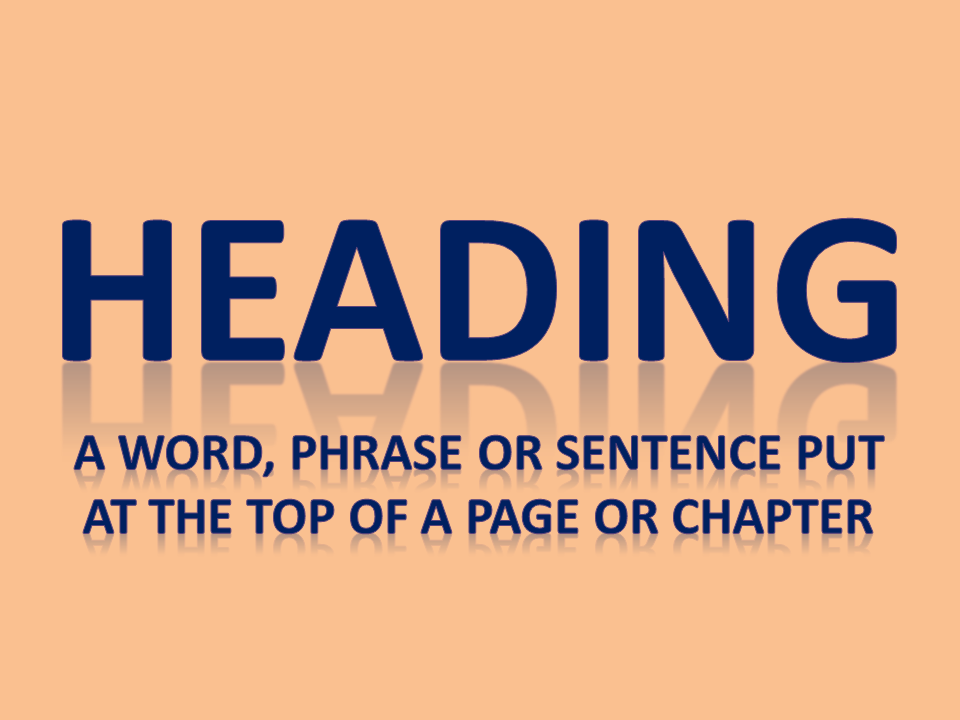 Heading: A word, phrase or sentence put at the top of a page or chapter